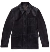 Tom Ford Suede Field Jacket Navy
