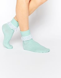 7X Frill Top Ankle Socks Green