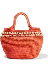 Sensi Studio Woman Bead Embellished Toquilla Straw Shoulder Bag Orange