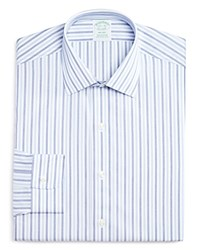 Brooks Brothers Non Iron Stripe Milano Regular Fit Dress Shirt 100 Bloomingdale's Exclusive Navy Lt Blue