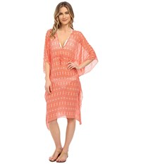 Echo Ikat Double V Butterfly Cover Up Bright Coral Women's Swimwear Gray