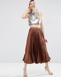 Asos Midi Skirt In Pleated Satin Chocolate Brown