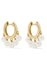Sydney Evan Huggie 14 Karat Gold Pearl Hoop Earrings
