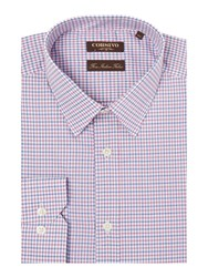 Corsivo Zetico Two Colour Check Cotton Shirt Pink