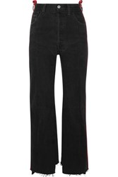 Vetements Leather Trimmed High Rise Straight Leg Jeans Black