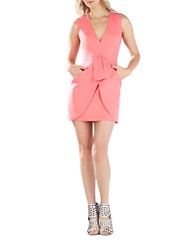Bcbgmaxazria Clare Draped Tulip Skirt Dress Pink Coral