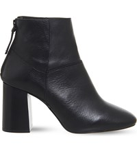 Office Lavender Zip Up Leather Ankle Boots Black Leather