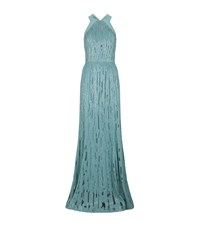Elie Saab Fluted Sequin Gown Female Blue