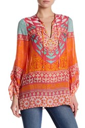 Hale Bob Long Sleeve Embellished Print Tunic Pink