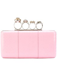 Alexander Mcqueen 'Knuckle' Clutch Women Leather Metal Other Glass One Size Pink Purple