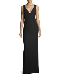 Emporio Armani Deep V Crepe Column Evening Gown With Pleat Detail Black