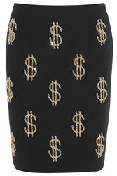 Moschino Dollar Sign Chain Embellished Crepe Skirt Black