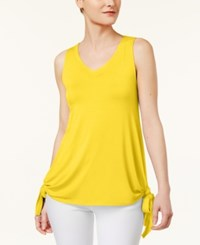 Cable And Gauge Cupio By Sleeveless Tie Hem Top Yellow
