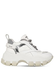 Prada 75Mm Nylon And Leather Platform Sneakers White