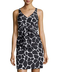 Susana Monaco V Neck Giraffe Print Charmeuse Dress Black
