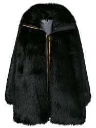 Faith Connexion Zipped Up Fur Coat Black