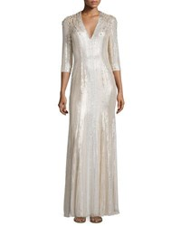 Jenny Packham Long Sleeve V Neck Sequin Gown Lunar