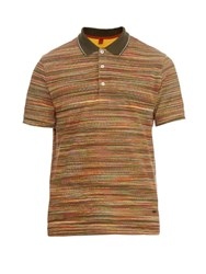 Missoni Striped Cotton Pique Polo Shirt Orange Multi