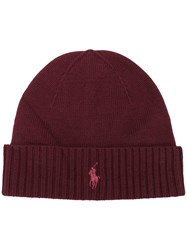 Ralph Lauren Knitted Logo Hat Red