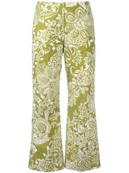 Fay Printed Cropped Trousers Green