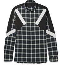 Neil Barrett Slim Fit Panelled Checked Cotton Flannel Shirt Gray