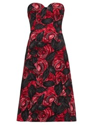 Prada Sweetheart Neckline Rose Print Cady Dress Red Multi