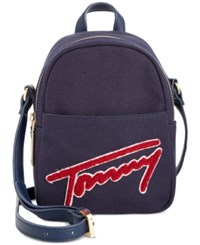 Tommy Hilfiger Aurora Embellished Canvas Mini Backpack Crossbody Canvas W Terry Cloth Navy Red