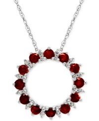 Macy's Rhodolite Garnet 1 1 8 Ct. T.W. And White Topaz 1 5 Ct. T.W. Circle Pendant Necklace In Sterling Silver