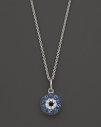 Bloomingdale's Diamond And Sapphire Evil Eye Pendant In 14K White Gold 18