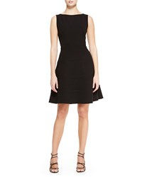 Lela Rose Boat Neck Dress With Full Skirt Black