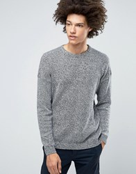 Asos Relaxed Crew Neck Jumper With Dropped Shoulder In Cotton Twist Navy