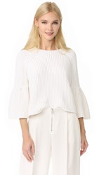Elizabeth And James Carolina Cropped Flutter Sleeve Sweater White