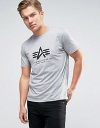 Alpha Industries T Shirt With Logo In Regular Fit Grey Heather Gy1 Grey 1