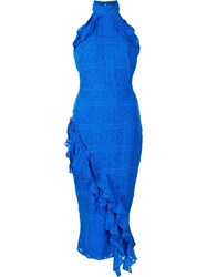Saloni Ruffled Fitted Dress Blue