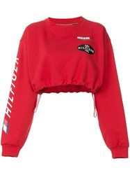 Tommy Hilfiger Cropped Race Sweatshirt Red