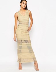 Wow Couture Bandage Dress With Mesh Inserts Sand Beige