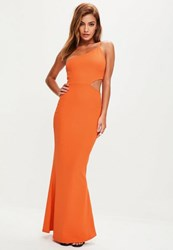 Missguided Orange Cut Out One Shoulder Dress