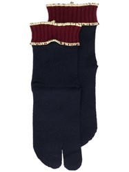 Maison Martin Margiela Ribbed Gloves Blue