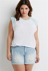 Forever 21 Slub Knit Baseball Tee White Mint