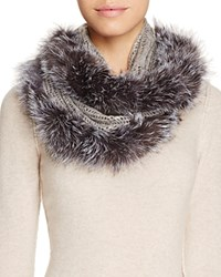 Surell Infinity Loop Scarf With Fox Fur Trim Gray Silver Fox