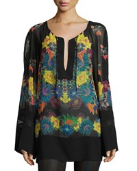 Just Cavalli Multi Floral Print Georgette Tunic Women's