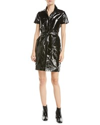 J Brand Lucille Belted Leather Shirtdress Patent Black