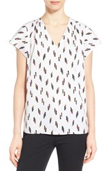 Women's Nordstrom Collection Print Stretch Silk Short Sleeve V Neck Blouse