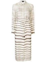 Theory White Strip Detail Belted Silk Shirtdress 60
