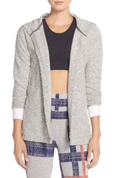 Alternative Apparel Hooded Open Front Boucle Cardigan Pepper