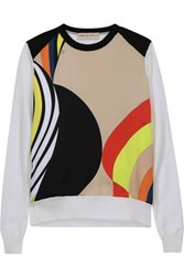 Emilio Pucci Printed Silk Blend Satin And Wool Sweater Ivory