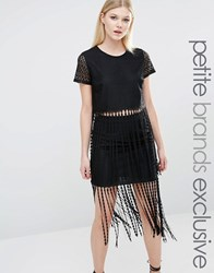 Tfnc Petite Lace Crochet Fringe Crop Top Co Ord Black