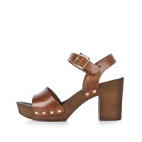River Island Womens Brown Leather Strappy Clogs