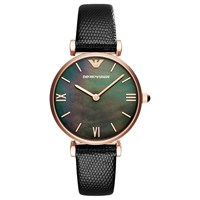 Emporio Armani Ar11060 Women's Mother Of Pearl Leather Strap Watch Black Multi
