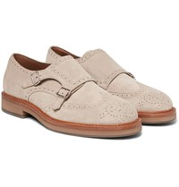 Brunello Cucinelli Suede Monk Strap Shoes Ecru
